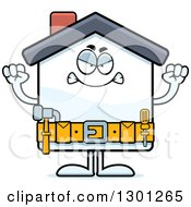 Cartoon Angry Mad Home Improvement House Character Waving Fists