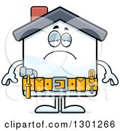 Cartoon Sad Depressed Home Improvement House Character