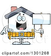 Cartoon Happy Home Improvement House Character Holding A Blank Sign