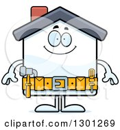 Clipart Of A Cartoon Happy Home Improvement House Character Smiling Royalty Free Vector Illustration