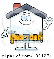 Poster, Art Print Of Cartoon Friendly Home Improvement House Character Waving