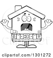 Cartoon Black And White Scared Screaming Home Improvement House Character
