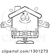 Cartoon Black And White Loving Home Improvement House Character Wanting A Hug With Hearts
