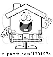 Cartoon Black And White Happy Smart Home Improvement House Character With An Idea
