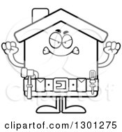 Cartoon Black And White Angry Mad Home Improvement House Character Waving Fists