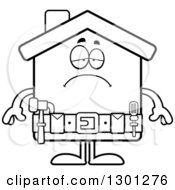 Cartoon Black And White Sad Depressed Home Improvement House Character