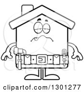 Cartoon Black And White Sick Or Drunk Home Improvement House Character