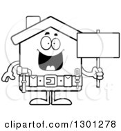 Cartoon Black And White Happy Home Improvement House Character Holding A Blank Sign