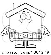 Cartoon Black And White Happy Home Improvement House Character Smiling