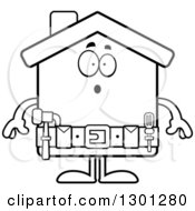 Cartoon Black And White Surprised Gasping Home Improvement House Character