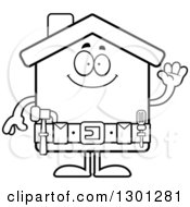 Poster, Art Print Of Cartoon Black And White Friendly Home Improvement House Character Waving