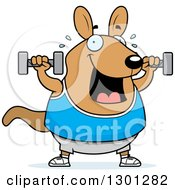 Clipart Of A Cartoon Chubby Wallaby Working Out With Dumbbells Royalty Free Vector Illustration by Cory Thoman