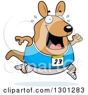 Clipart Of A Cartoon Sweaty Chubby Wallaby Running A Track And Field Race Royalty Free Vector Illustration
