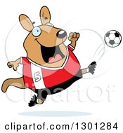 Clipart Of A Cartoon Chubby Wallaby Kicking A Soccer Ball Royalty Free Vector Illustration by Cory Thoman