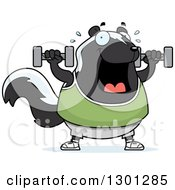 Clipart Of A Cartoon Chubby Skunk Working Out With Dumbbells Royalty Free Vector Illustration