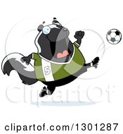 Clipart Of A Cartoon Chubby Skunk Kicking A Soccer Ball Royalty Free Vector Illustration