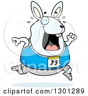 Clipart Of A Cartoon Sweaty Chubby White Rabbit Running A Track And Field Race Royalty Free Vector Illustration