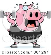 Clipart Of A Cartoon Chubby Pink Pig Working Out With Dumbbells Royalty Free Vector Illustration