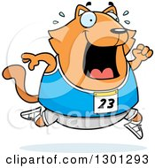 Clipart Of A Cartoon Sweaty Chubby Ginger Cat Running A Track And Field Race Royalty Free Vector Illustration
