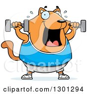 Clipart Of A Cartoon Chubby Ginger Cat Working Out With Dumbbells Royalty Free Vector Illustration