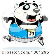 Clipart Of A Cartoon Sweaty Chubby Panda Running A Track And Field Race Royalty Free Vector Illustration