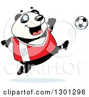 Clipart Of A Cartoon Chubby Panda Kicking A Soccer Ball Royalty Free Vector Illustration by Cory Thoman