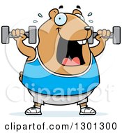 Clipart Of A Cartoon Chubby Hamster Working Out With Dumbbells Royalty Free Vector Illustration