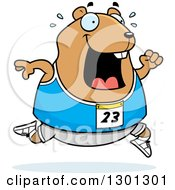 Clipart Of A Cartoon Sweaty Chubby Hamster Running A Track And Field Race Royalty Free Vector Illustration