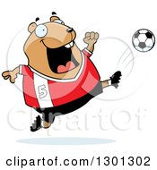 Clipart Of A Cartoon Chubby Hamster Kicking A Soccer Ball Royalty Free Vector Illustration