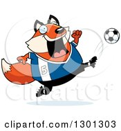 Clipart Of A Cartoon Chubby Fox Kicking A Soccer Ball Royalty Free Vector Illustration by Cory Thoman