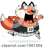 Clipart Of A Cartoon Sweaty Chubby Fox Running A Track And Field Race Royalty Free Vector Illustration by Cory Thoman