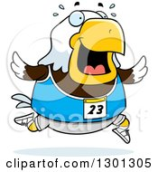 Clipart Of A Cartoon Sweaty Chubby Bald Eagle Bird Running A Track And Field Race Royalty Free Vector Illustration