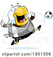 Clipart Of A Cartoon Chubby Bald Eagle Bird Kicking A Soccer Ball Royalty Free Vector Illustration by Cory Thoman