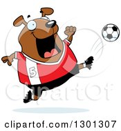 Clipart Of A Cartoon Chubby Brown Dog Kicking A Soccer Ball Royalty Free Vector Illustration