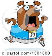 Clipart Of A Cartoon Sweaty Chubby Dog Running A Track And Field Race Royalty Free Vector Illustration