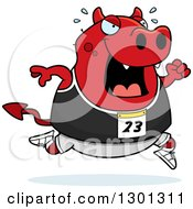 Clipart Of A Cartoon Sweaty Chubby Red Devil Running A Track And Field Race Royalty Free Vector Illustration
