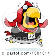 Clipart Of A Cartoon Sweaty Chubby Red Cardinal Bird Running A Track And Field Race Royalty Free Vector Illustration