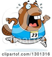 Clipart Of A Cartoon Sweaty Chubby Beaver Running A Track And Field Race Royalty Free Vector Illustration