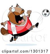Clipart Of A Cartoon Chubby Beaver Kicking A Soccer Ball Royalty Free Vector Illustration