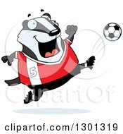 Clipart Of A Cartoon Chubby Badger Kicking A Soccer Ball Royalty Free Vector Illustration by Cory Thoman
