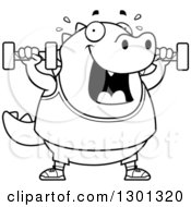 Outline Clipart Of A Cartoon Black And White Chubby Lizard Working Out With Dumbbells Royalty Free Lineart Vector Illustration by Cory Thoman