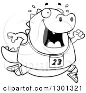 Outline Clipart Of A Cartoon Black And White Sweaty Chubby Lizard Running A Track And Field Race Royalty Free Lineart Vector Illustration