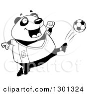 Outline Clipart Of A Cartoon Black And White Chubby Panda Kicking A Soccer Ball Royalty Free Lineart Vector Illustration by Cory Thoman