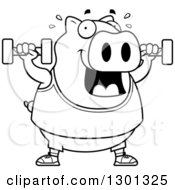 Outline Clipart Of A Cartoon Black And White Chubby Pig Working Out With Dumbbells Royalty Free Lineart Vector Illustration