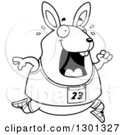 Outline Clipart Of A Cartoon Black And White Sweaty Chubby Rabbit Running A Track And Field Race Royalty Free Lineart Vector Illustration