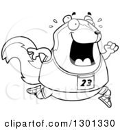 Outline Clipart Of A Cartoon Black And White Sweaty Chubby Skunk Running A Track And Field Race Royalty Free Lineart Vector Illustration