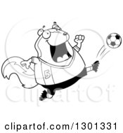 Outline Clipart Of A Cartoon Black And White Chubby Skunk Kicking A Soccer Ball Royalty Free Lineart Vector Illustration