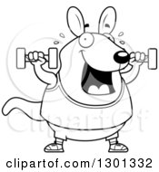 Outline Clipart Of A Cartoon Black And White Chubby Wallaby Working Out With Dumbbells Royalty Free Lineart Vector Illustration by Cory Thoman