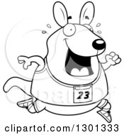 Outline Clipart Of A Cartoon Black And White Sweaty Chubby Wallaby Running A Track And Field Race Royalty Free Lineart Vector Illustration
