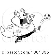 Outline Clipart Of A Cartoon Black And White Chubby Fox Kicking A Soccer Ball Royalty Free Lineart Vector Illustration by Cory Thoman